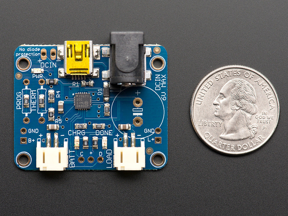Adafruit USB/DC/Solar Charger Board (Top View)