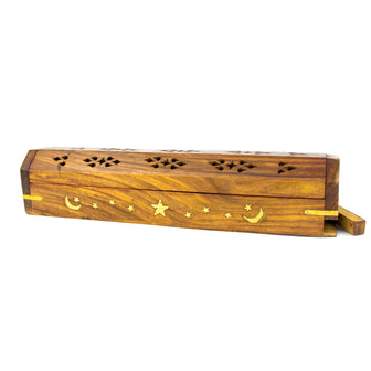 Coffin Incense Burner for Cones and Sticks with Storage