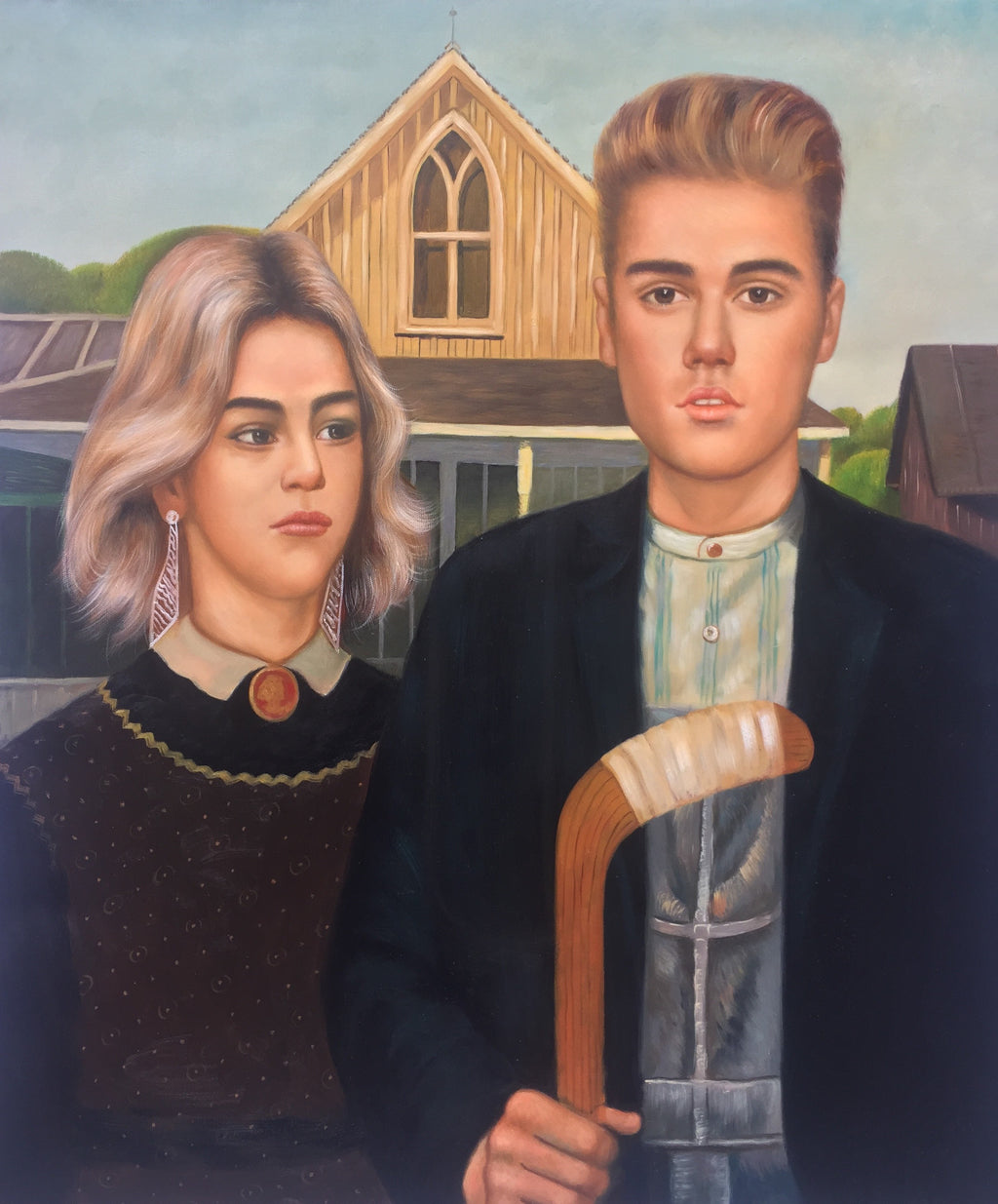 New Oil Painting Celebrates Bieber-Gomez Reunion, 'American Gothic' Style