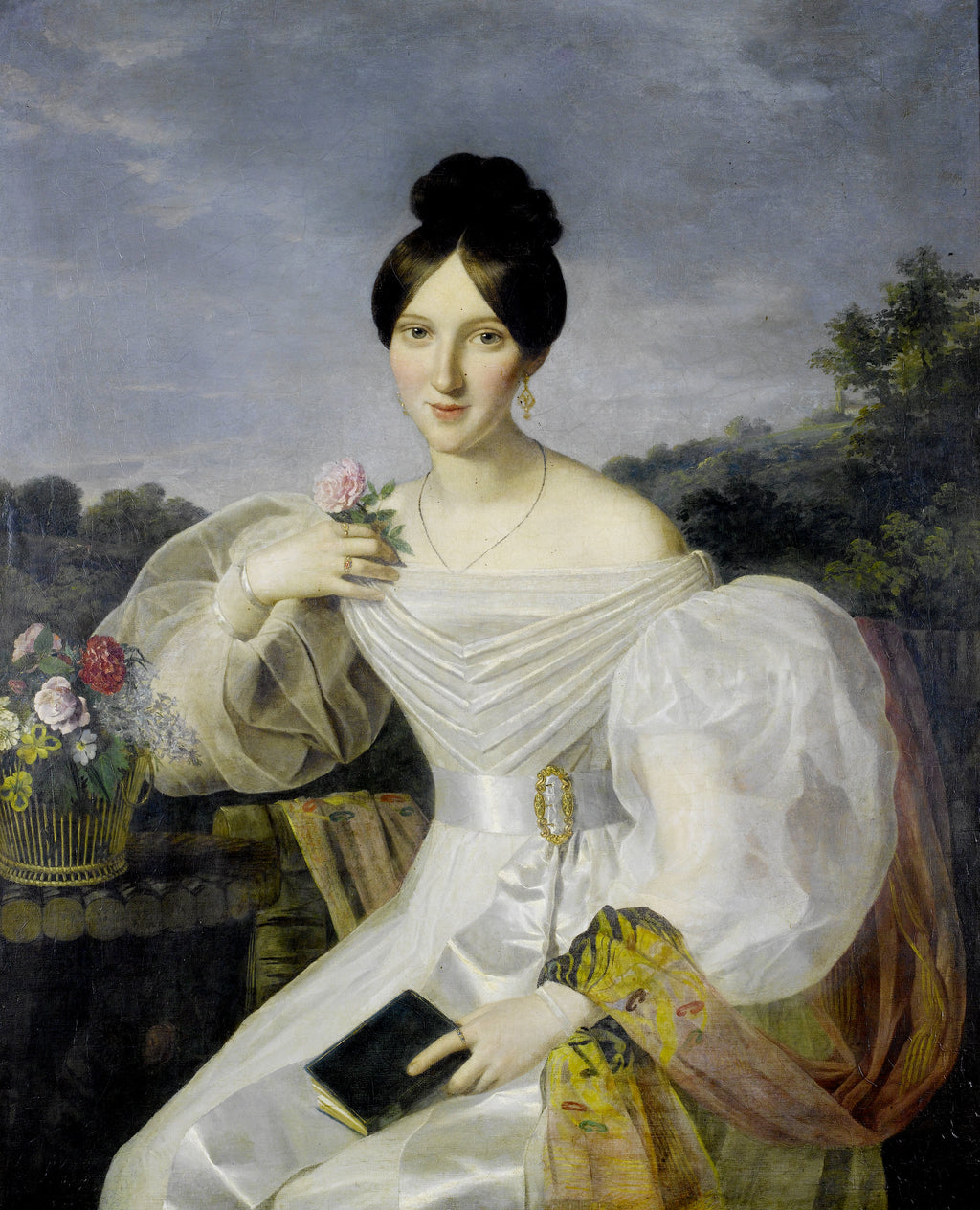A lady in a white dress and shawl before a Viennese landscape