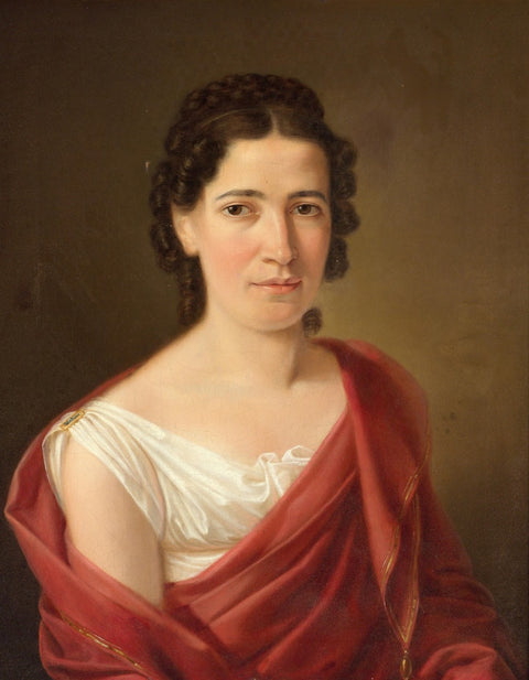 Black-Haired Woman in a White Dress and Wine Red Shawl