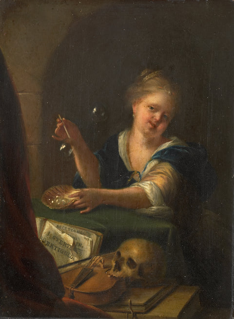 Bubble blowing girl at a vanitas still life