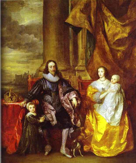 Charles I and Queen Henrietta Maria with Charles, Prince of Wales and Princess Mary