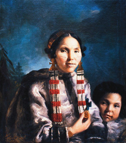 Painting of the Inuit Mikak and her son Tukauk