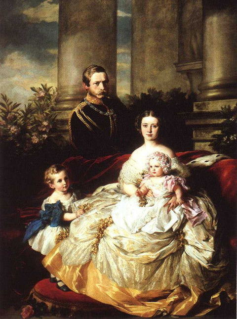 Emperor Frederick III of Germany, King of Prussia with his wife, Empress Victoria, and their children, Prince William and Princess Charlotte