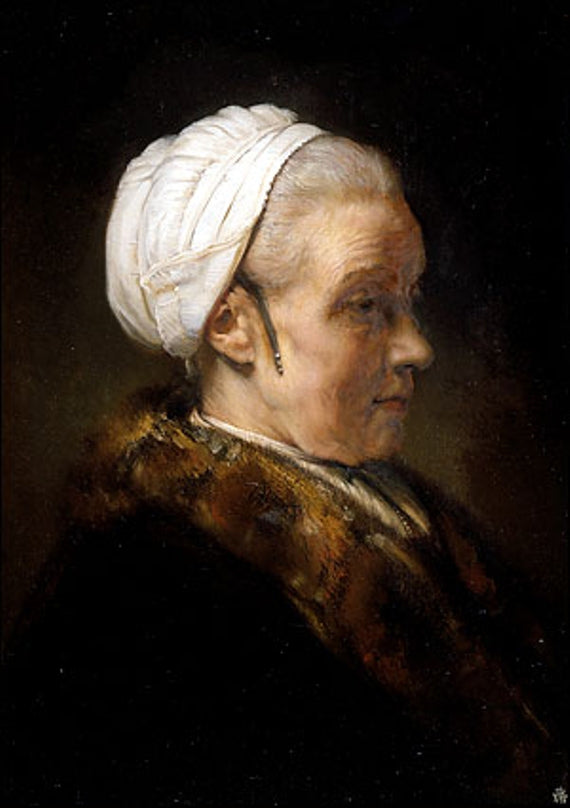 Lighting Study of an Elderly Woman in a White Cap