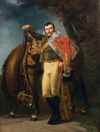 Portrait of Colonel Claude Etienne Guyot with his Horse