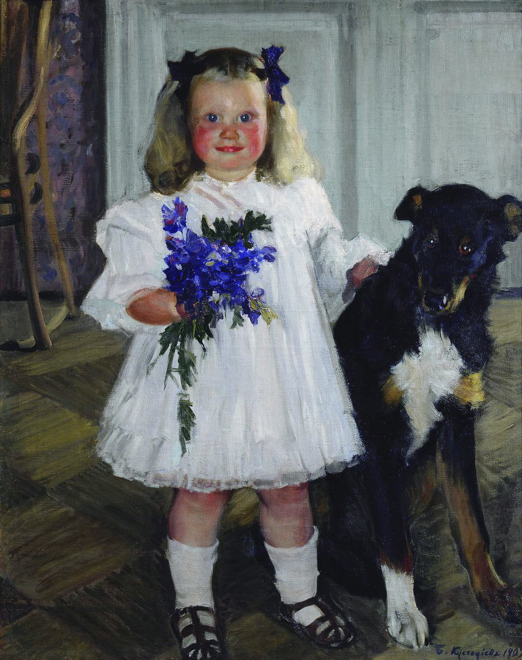 Portrait of Irina Kustodiev with the dog Shumka