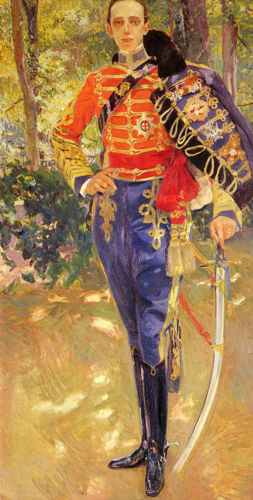 Portrait of King Alfonso XIII in the uniform of the hussars