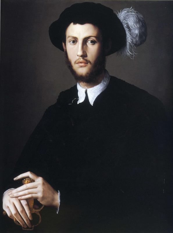 Portrait of Young Man in a Hat with a Feather