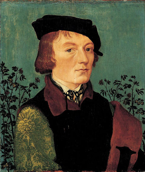 Portrait of a Man in front of a Rose Hedge