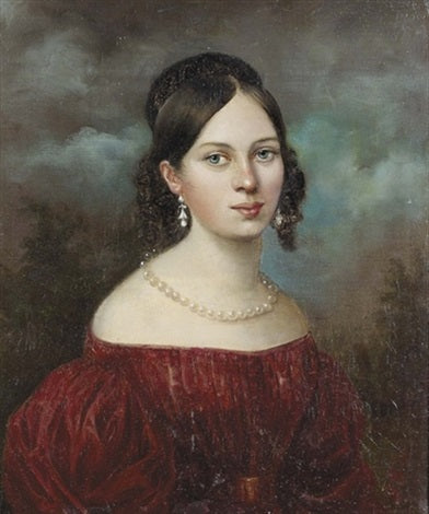 Portrait of a young lady in red dress