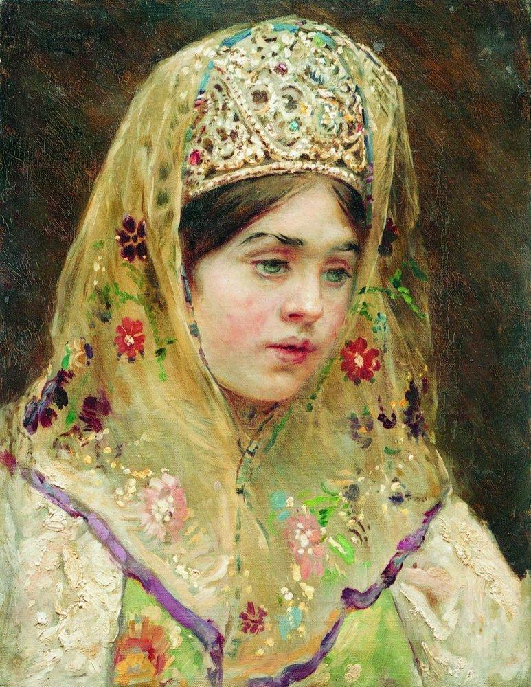 Portrait of the Girl in a Russian Dress