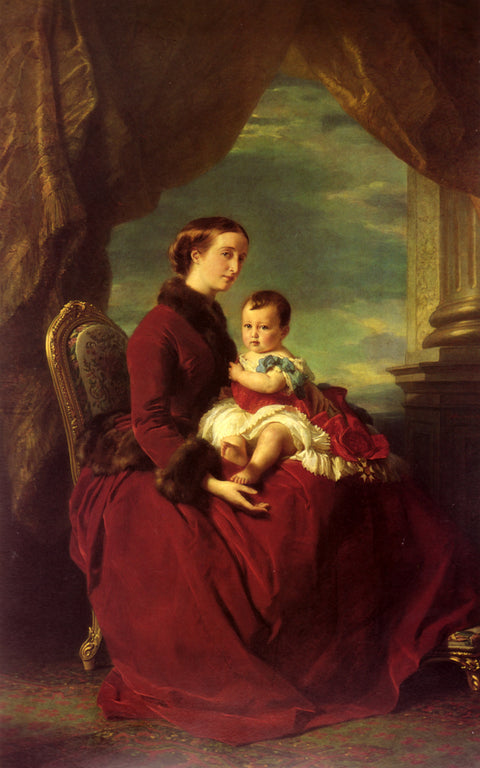 The Empress Eugenie Holding Louis Napoleon, the Prince Imperial, on her Knees