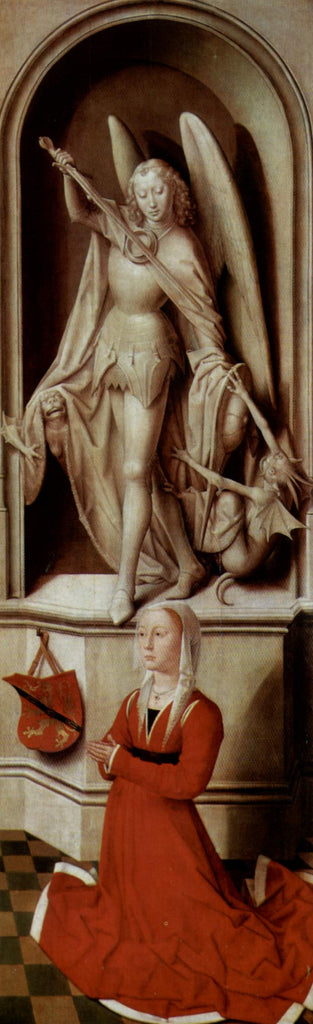 The Last Judgment, triptych, right wing Praying donor Catherine Tanagli with archangel Michael