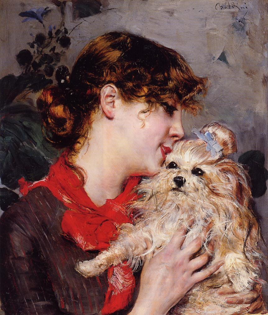 The actress Rejane and her dog