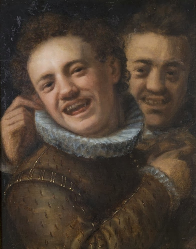 Two laughing men (double self-portrait)