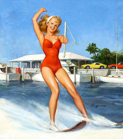 Water skiing in red