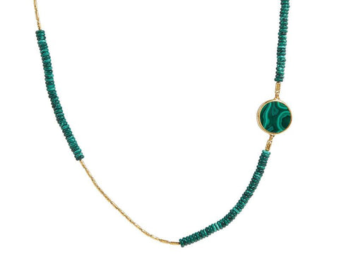 Gurhan 24k Gold Malachite Rune Single Strand Necklace