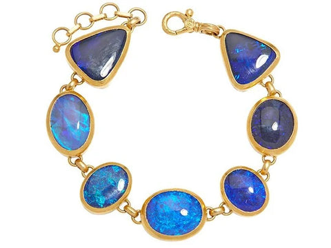 Gurhan Opal-Black 24k Gold Rune, All Around Bracelet