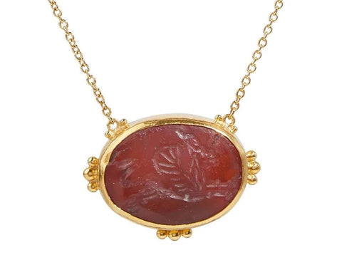 Gurhan 24k/22k Gold Intaglio Antiquities Pendant Necklace