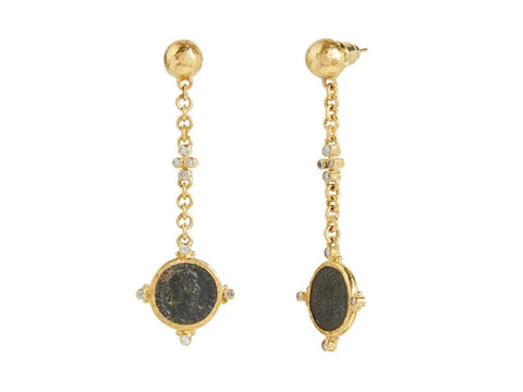 Gurhan 24k Gold Antiquities Coin Dangle Earring