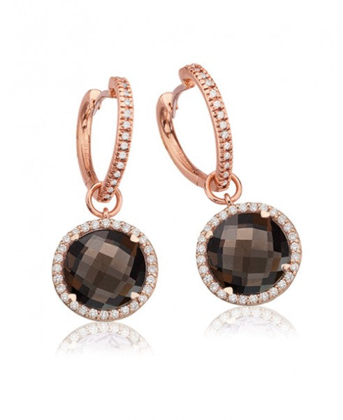 LISA NIK SMOKEY QUARTZ ROUND DROPS WITH HEART HOOPS