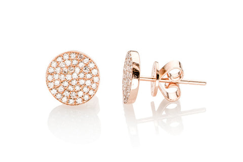 EF - Diamond Disc Stud Earrings