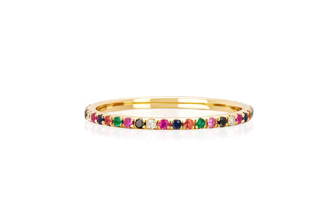 EF - Yellow Gold Diamond Rainbow Eternity Stack Ring