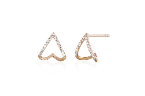 EF - Rose Diamond Chevron Huggie Earring