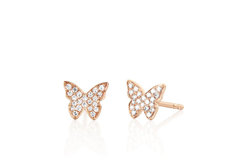 EF - 14k Rose Diamond Butterfly Stud Earring