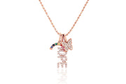 EF - 14k Rose Diamond Hope Charm Necklace