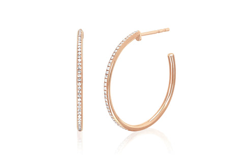 EF - 14k Rose Half Diamond Essential Hoop Earring