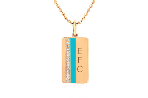 EF - 14k Yellow Diamond & Turquoise Enamel Vertical Stripe Necklace