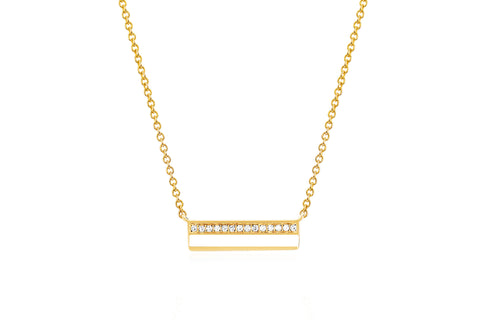 EF - 14k Yellow Mini Diamond & White Enamel Bar Necklace