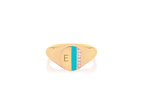 EF - 14k Yellow Mini Diamond & Turquoise Enamel Stripe Signet Ring