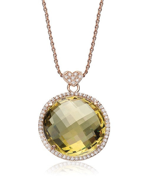 LISA NIK LEMON QUARTZ ROUND NECKLACE WITH DIAMONDS