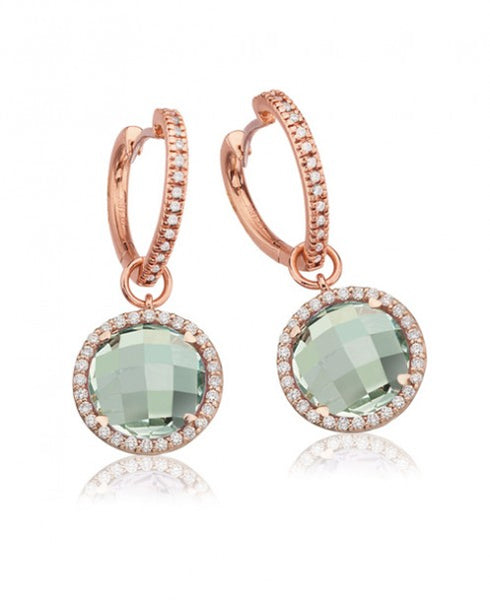 LISA NIK GREEN QUARTZ ROUND DROPS WITH HEART HOOPS