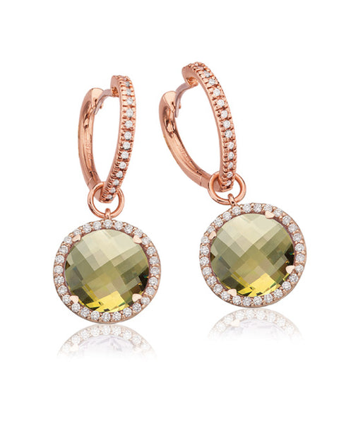 LISA NIK LEMON QUARTZ ROUND EARRINGS WITH DIAMONDS
