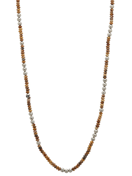John Varvatos - Silver Distressed Balls Jasper NECKLACE