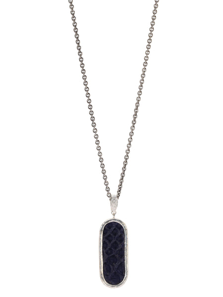 John Varvatos - Dog Tag Blue Snake Leather NECKLACE