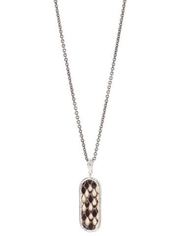 John Varvatos - Dog Tag White/ Brown Snake Leather NECKLACE