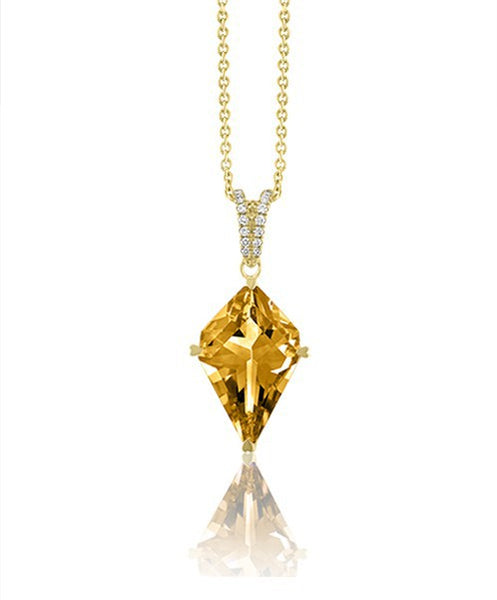 LISA NIK CITRINE KITE SHAPED PENDANT WITH DIAMONDS