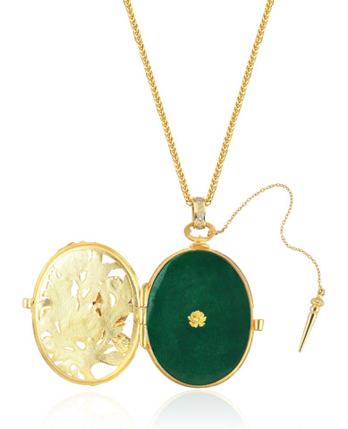 Green Dove's Nest Locket. Locket Pendant. 18K yellow gold, 0,33ct diamonds 0,02ct rubies and vitreous enamel.18K yellow gold chain.