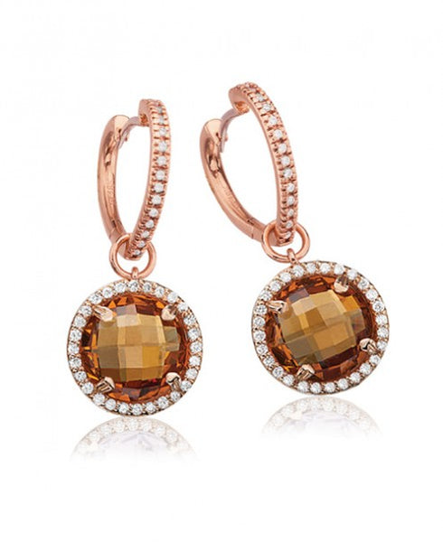 LISA NIK CITRINE ROUND DROPS WITH HEART HOOPS