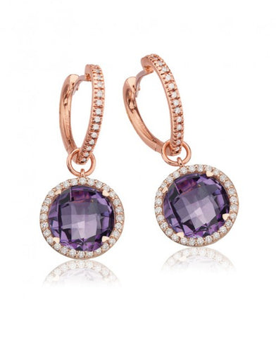 Lisa Nik Amethyst Round Drops With Heart Hoops