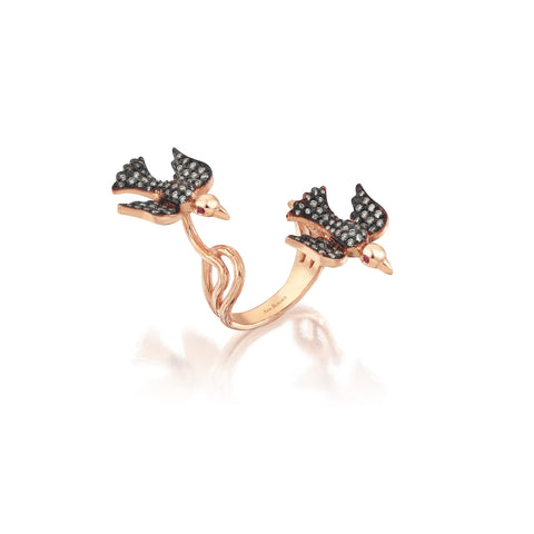 Aida Bergsen Black Duo Flock Ring