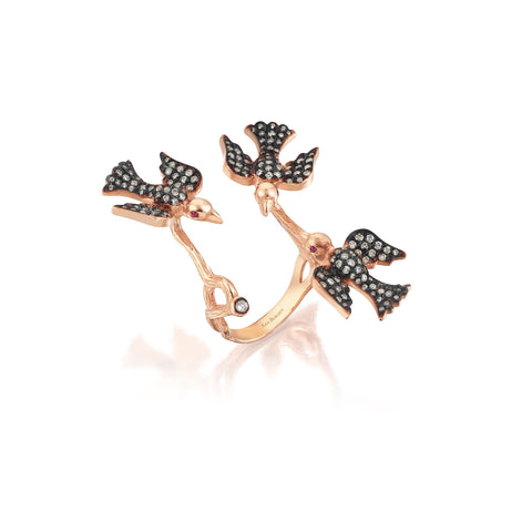Aida Bergsen Black Trio Flock Ring