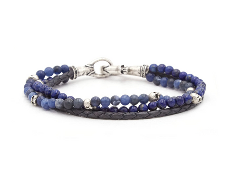 John Varvatos - Silver Triple Strand Bracelet w/ Leather, Sodalite, & Lapis Beads