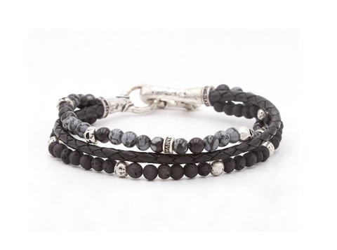 John Varvatos - Silver Triple Strand Bracelet w/ Leather, Gray Obsidian, & Lava Beads